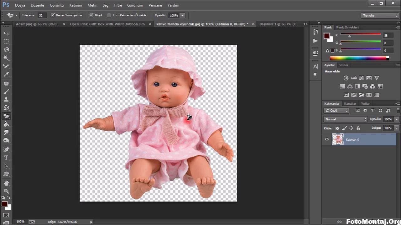 Photo of Photoshopta Bebeği kutunun içine koyma